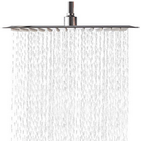 LORDEAR Solid Square Ultra Thin 304 Stainless Steel 16 Inch Adjustable Rain Shower Head